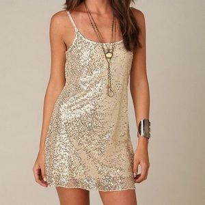 Intimately Free People Gold Sequined Slip Dress
